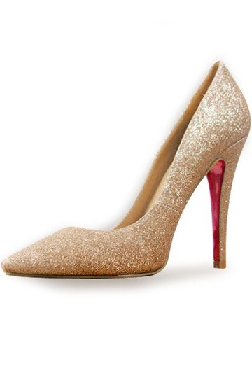 sequins golden red botton pump