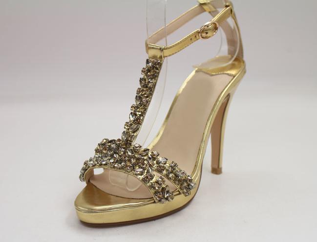 Golden T straps rhinestones sandal