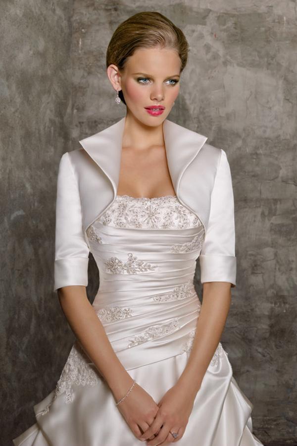 Satin Wedding Dress with Half Sleeves  Jacket / Wedding Wrap