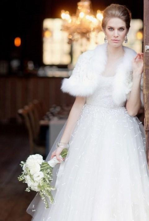 White Wedding Dress with Feather Wrap