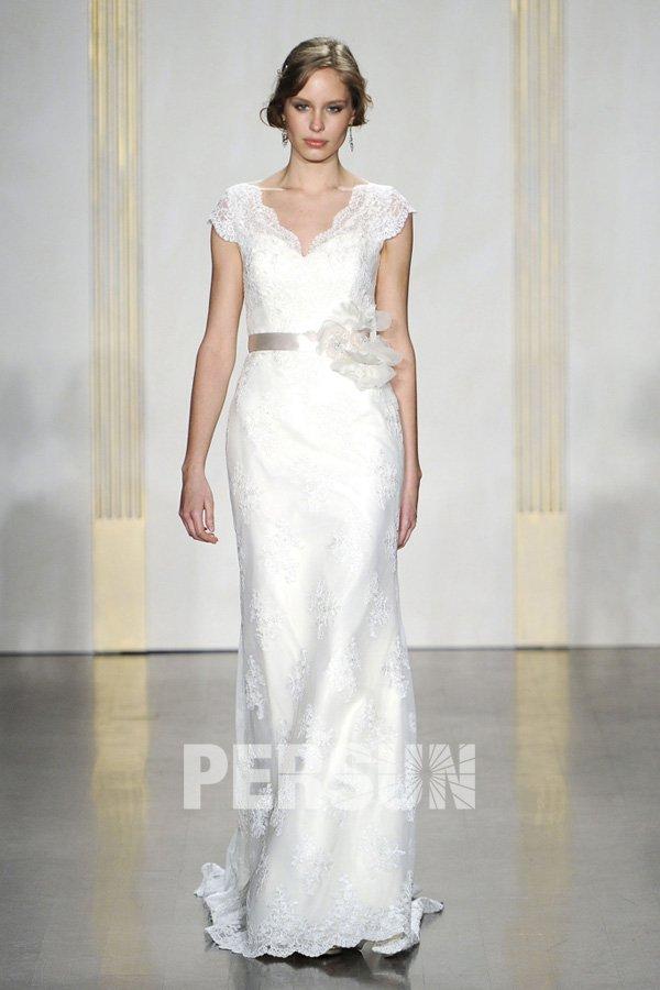 Vintage V neck Lace Long Wedding Dress