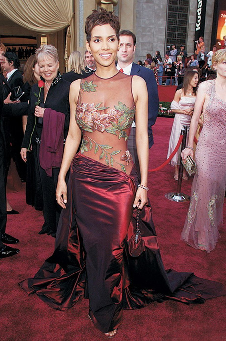 Halle-Berry sheer sexy  floral red  evening  dress