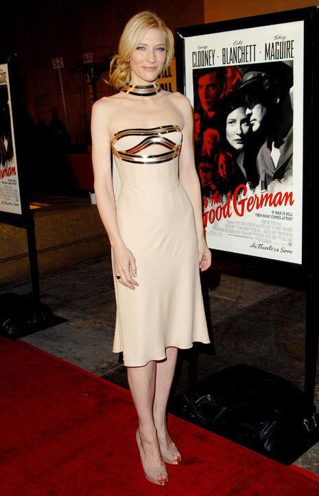 Cate Blanchett's metallic strapless short evening dress