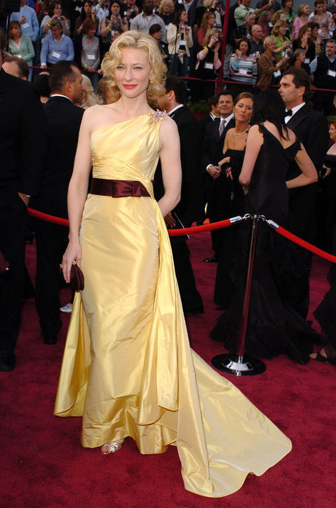 Cate Blanchett's one shoulder irregular yellow evening dress
