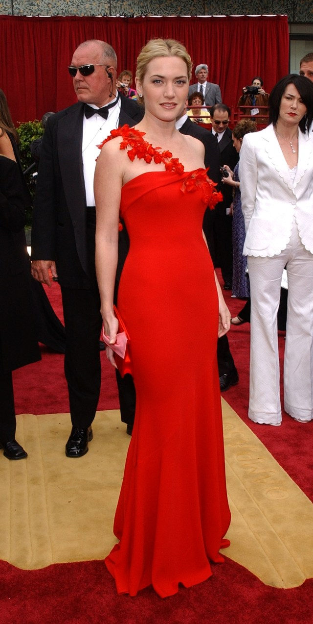 Kate Winslet red prom gown