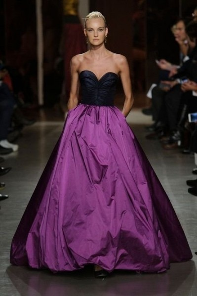 color block purple gown