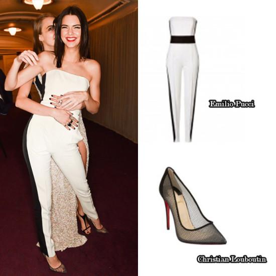 Kendall Jenner strapless white jumpsuit