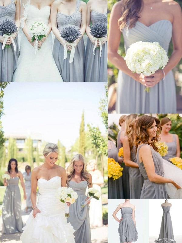 cheap gray Bridesmaid Dresses