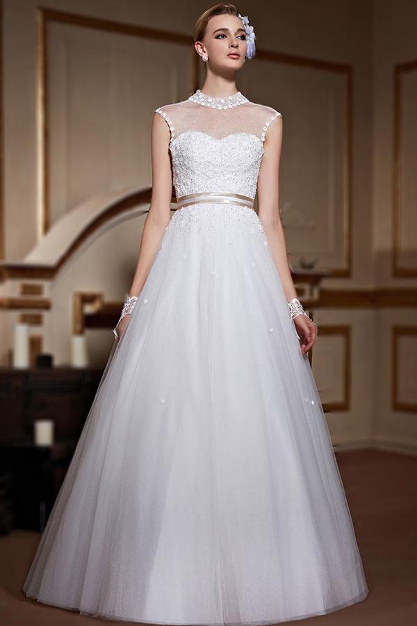 high neck wedding gown AU