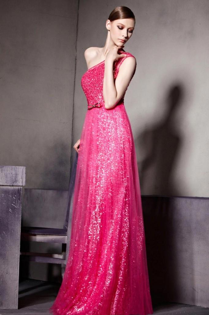 one shoulder pink Formal Dresses